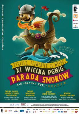 Plakat opracowany na XI Paradę Smoków w 2011 w Krakowie