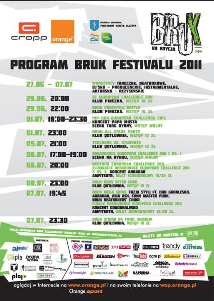Program festiwalu Bruk 2011