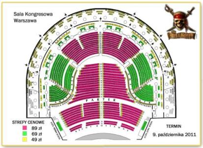 Rozkład miejsc dostępny podczas koncertu Piraci z Karaibów