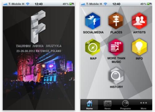 Aplikacja mobilna festiwalu Tauron Nowa Muzyka 2012 - zrzuty ekranu