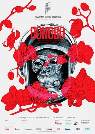 Plakat o koncercie Bonobo w Warszawie w klubie Fabryka Trzciny