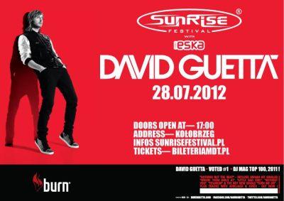 Plakat promujący koncert Davida Guetta w Kołobrzegu