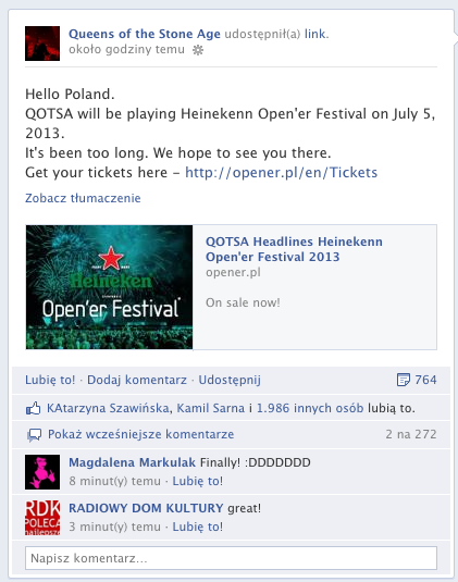 Queens Of The Stone Age wpis o koncercie w Polsce na Facebook