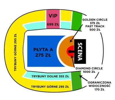 Rozkład miejsce - Atlas Arena w Łodzi - obowiązujący podczas marcowego koncertu Justina Biebera